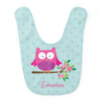Pink Owl on a branch personalized Baby Bib