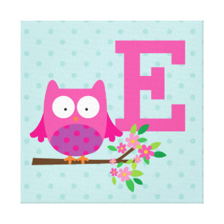 Pink Owl on a Branch Personalized Canvas