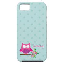 Pink Owl on a Branch Personalized Case
