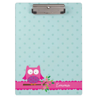 Pink Owl on a Branch personalized Clipboard
