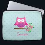 "Pink Owl on a Branch Personalized Laptop Sleeve<br><div class=""desc"">Personalized laptop sleeve featuring a little pink cartoon owl sitting on a branch with green leaves and hot pink flowers and aqua polka dots. Cute and fun design for for girls. Customizable name gift.</div>"
