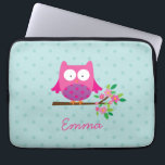 """Pink Owl on a Branch Personalized Laptop Sleeve<br><div class=""""desc"""">Personalized laptop sleeve featuring a little pink cartoon owl sitting on a branch with green leaves and hot pink flowers and aqua polka dots. Cute and fun design for for girls. Customizable name gift.</div>"""