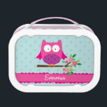 """Pink Owl on a branch Personalized Lunch Box<br><div class=""""desc"""">Personalized lunchbox featuring a little pink cartoon owl sitting on a branch with green leaves and hot pink flowers. Fun design for kids. Customizable name.</div>"""