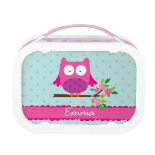 Pink Owl On A Branch Personalized Lunch Box at Zazzle