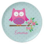 Pink Owl on a Branch Personalized Melamine Plate