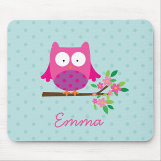 Pink Owl on a Branch Personalized Mousepad
