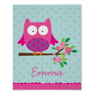Pink Owl on a branch Personalized Nursery Poster