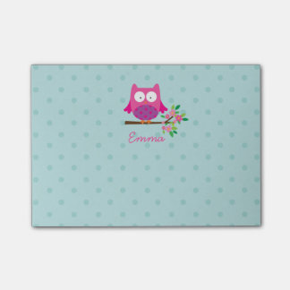 Pink Owl on a Branch Personalized Post It Notes