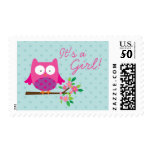 Pink Owl on a Branch personalized Postage Stamps