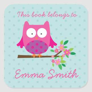 Pink Owl on a Branch Personalized Sticker