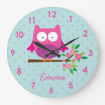 Pink Owl on a Branch personalized Wall Clock
