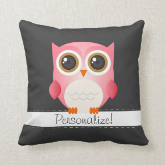 Pink Owl on Dark Gray Pillow, Personalize it!