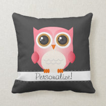 Pink Owl on Dark Gray Pillow, Personalize it! Throw Pillow