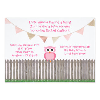"""Pink Owl on Fence Baby Shower Invitation 5"""" X 7"""" Invitation Card"""