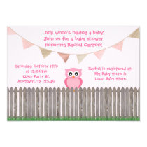 Pink Owl on Fence Baby Shower Invitation