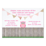 "Pink Owl on Fence Birthday Invitation 5"" X 7"" Invitation Card"