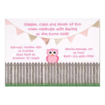Pink Owl on Fence Birthday Invitation