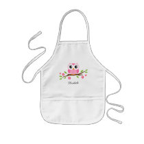Pink owl on floral branch personalized name kids' apron