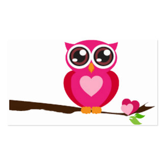 Pink Owl on Limb Double-Sided Standard Business Cards (Pack Of 100)