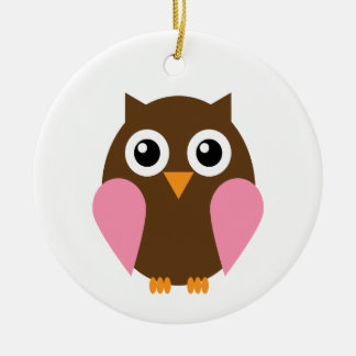 Pink Owl Double-Sided Ceramic Round Christmas Ornament