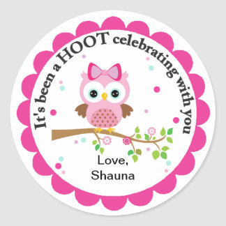 Pink Owl Party Thank You Classic Round Sticker