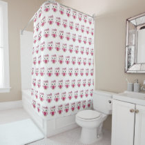 Pink Owl Pattern Shower Curtain