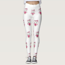 Pink Owl Pattern Women's Leggings