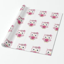 Pink Owl Pattern Wrapping Paper