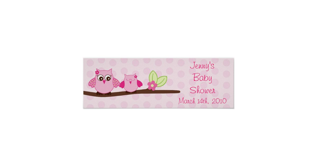 Pink Owl Personalized Baby Shower Banner Poster Zazzle