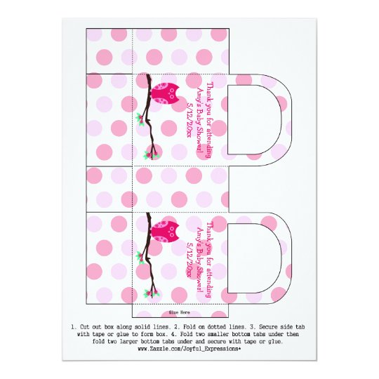 Pink Owl Personalized Baby Shower Favor Box Card
