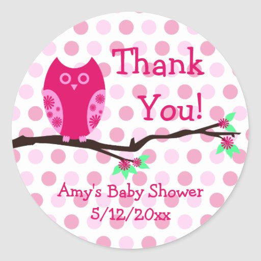 pink owl personalized baby shower favor tags classic round sticker