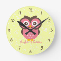 Pink Owl Personalized Bedroom Round Clock