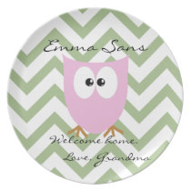Pink Owl Personalized Keepsake Plate