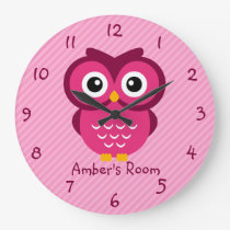 Pink Owl Personalized Kids Bedroom Clocks