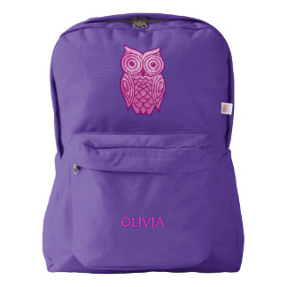 Pink Owl Personalized Name Cute Girly Sequins Look American Apparel™ Backpack