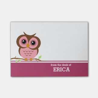 Pink Owl Personalized Post-it® Notes