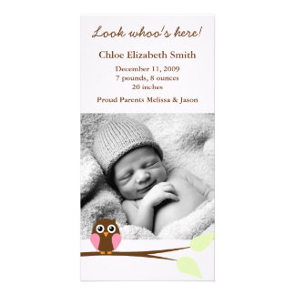 Pink Owl Photo Birth Announcements