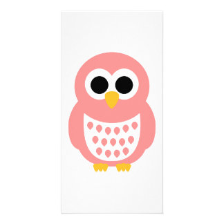 Pink owl photo card
