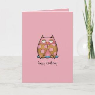 Pink Owl pink Birthday Card card