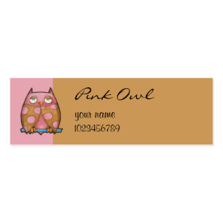 Pink Owl pink small Business Card