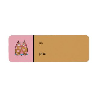 Pink Owl pink small Gift Tag Label label