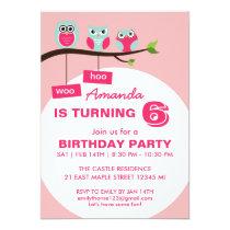 Pink Owl Polka Dots Birthday Invitation for Kids
