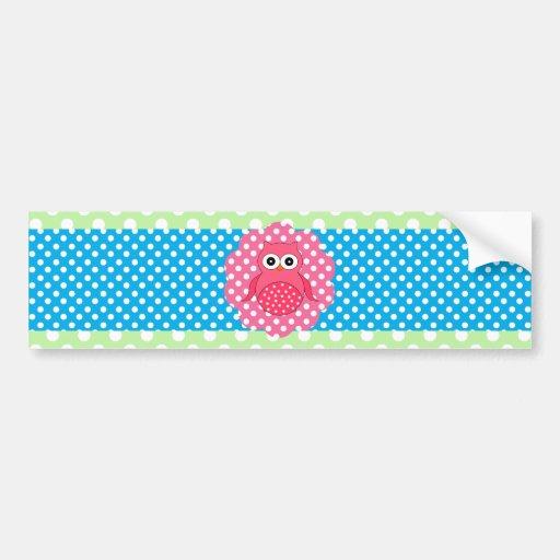 Pink owl polka dots bumper sticker