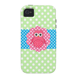Pink owl polka dots Case-Mate iPhone 4 cases