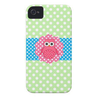 Pink owl polka dots iPhone 4 covers