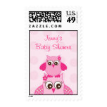 Pink Owl Polka Dots Custom Postage Stamps
