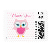 Pink owl, polka dots Thank You Postage