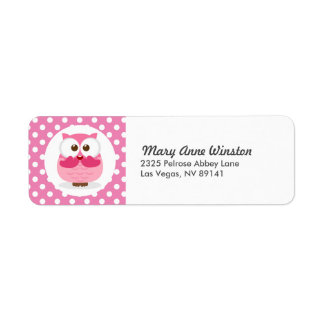 Pink Owl Polkadot Birthday Baby Shower Label