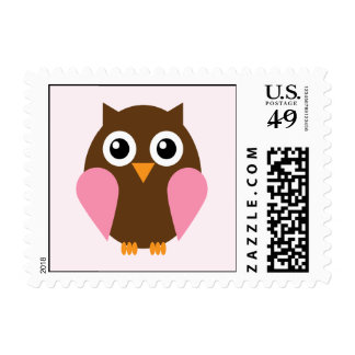 Pink Owl Postage Stamps