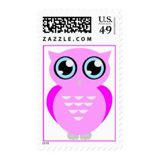 Pink Owl Postage Stamp